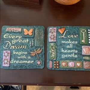 Quantity of 2 -6x6-wall plaques-